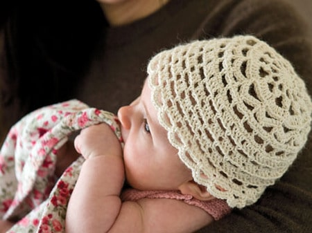 silk crochet baby hat
