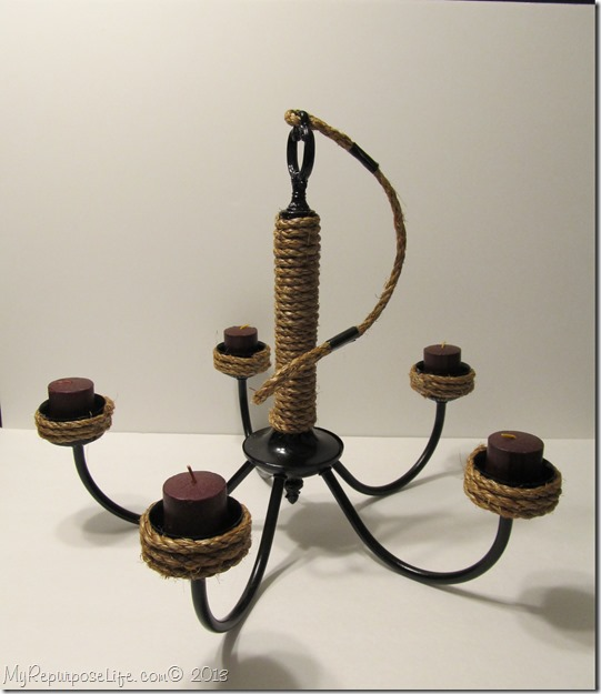 rope wrapped chandelier candelabra