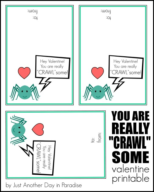 CRAWLsome Bug Valentine Printable