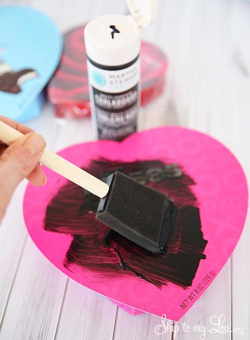 DIY chalkboard valentine candy box