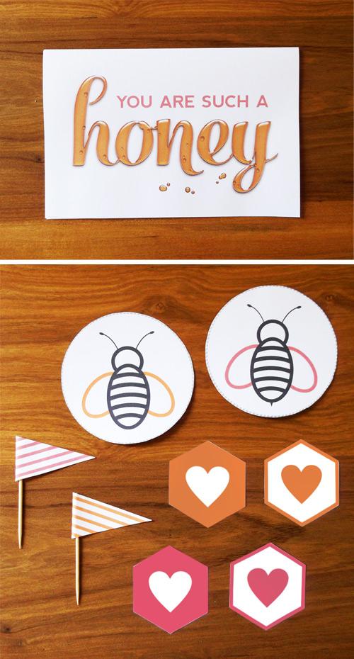 free printable honey valentines