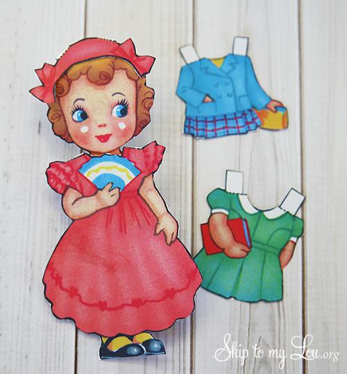 printable vintage paper doll Valentine