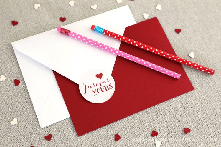 valentine stickers on back of envelope