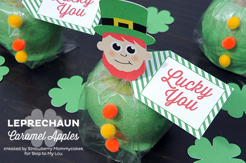 Leprechaun Caramel Apples by Strawberry Mommycakes for www.skiptomylou.org #stpattysday #printables #freeprintables