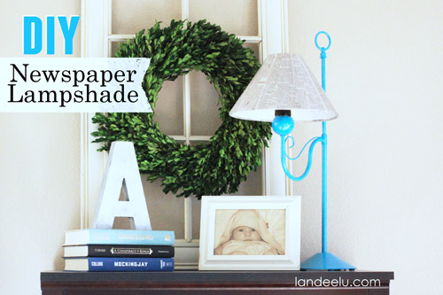 DIY Newspaper Lampshade by Landeelu