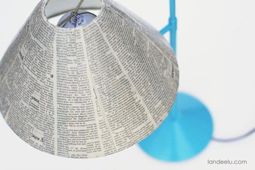 Newspaper Lampshade using Mod Podge