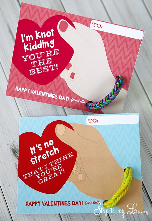 Rainbow Loom Bracelet Valentines Free Printable Skip