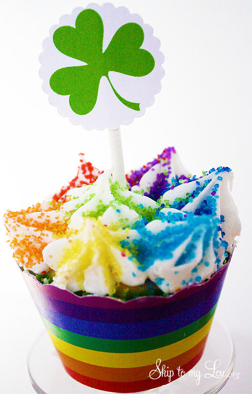 Shamrock Cupcake toppers and rainblow wrappers