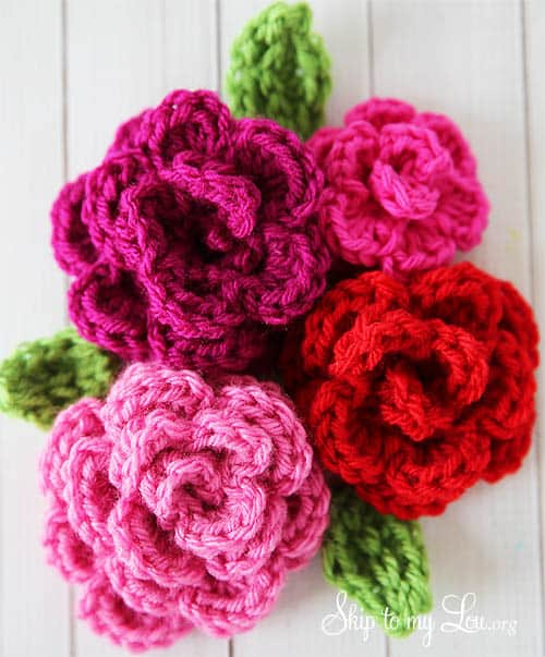 Crochet Patterns Roses Free : Free Easy Rose Crochet Pattern Skip To My Lou