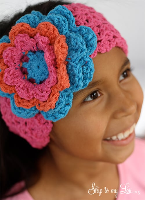 Crochet Flower Headband Skip