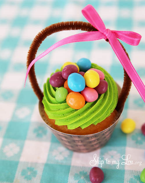 Easter basket cupcake with jelly beans