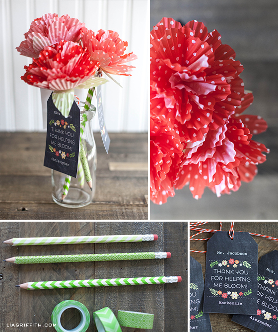 make some paper blooms to top washi covered pencils by lia