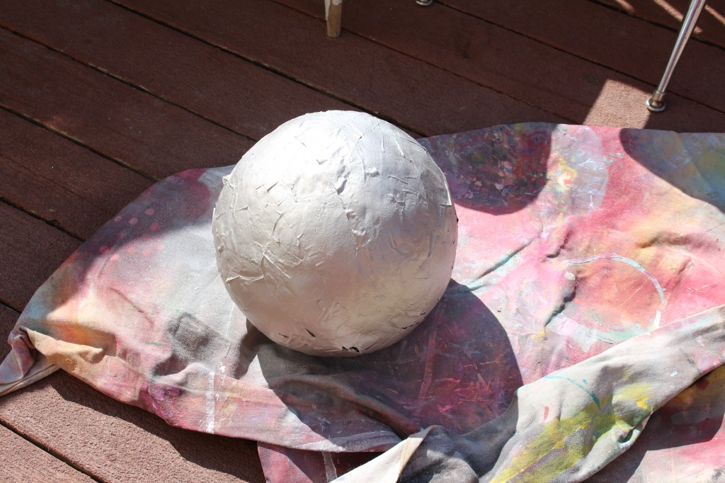 spray painted disco ball