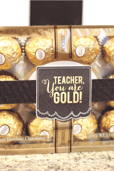 simple teacher gift gold chocolates in box with printable teacher tag