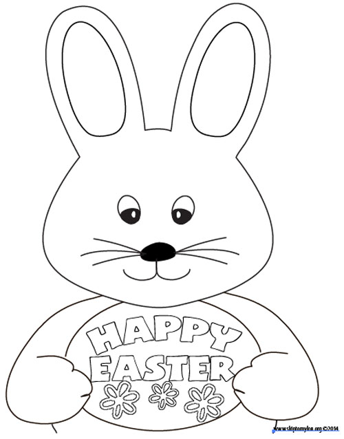 Cute Easter Bunny With Egg Coloring Page Lizenzfrei Nutzbare ... | 638x500
