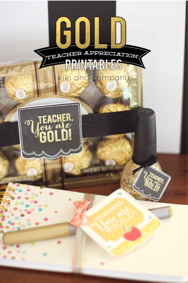 Love these Gold Teacher Appreciation Printables from Kiki and Company