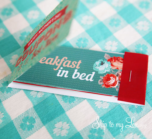 mom coupon book open showing breakfast in bed coupon