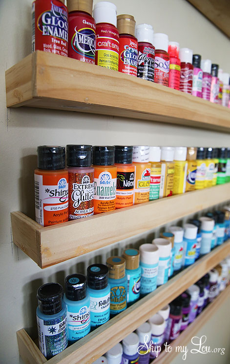paint storage wooden shelves