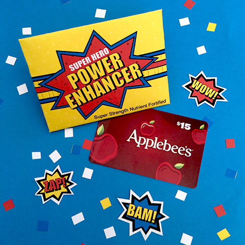 Super Hero Gift Card Printable by Jen Goode