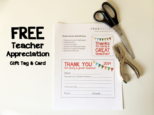 Free Teacher Appreciation Gift tag and card by Resa Design