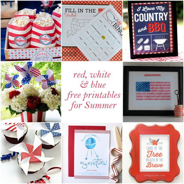 free red, white and blue printa
