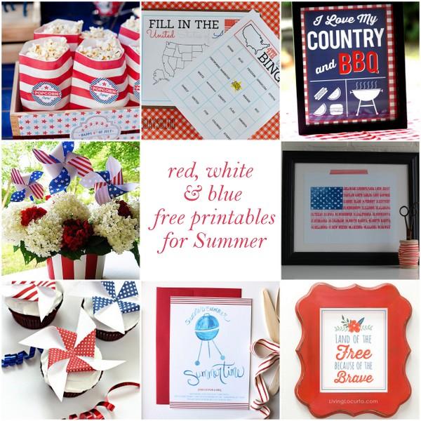 free red, white and blue printa