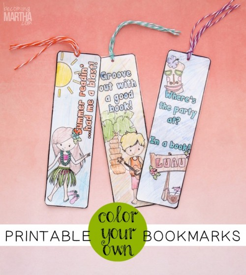 Printable Color Your Own Bookmarks from Becoming Martha