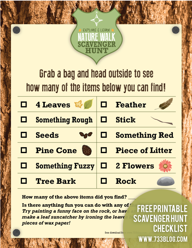 Sweet image with nature scavenger hunt list printable