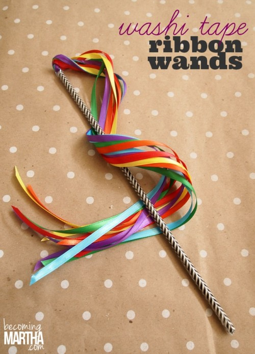 Washi Tape Ribbon Wands from becoming Martha