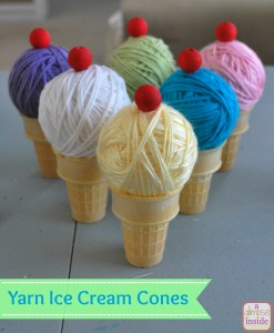 yarn ice cream cones- labeled