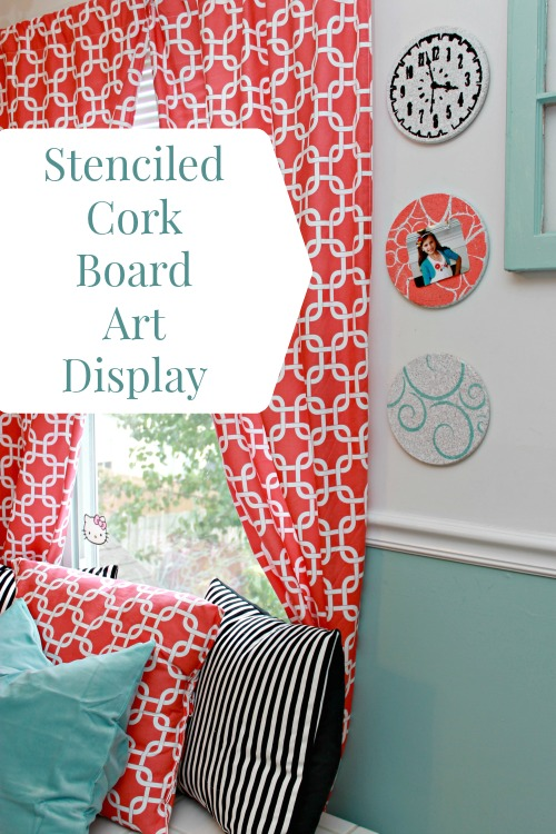 Stenciled Cork Board Art Display