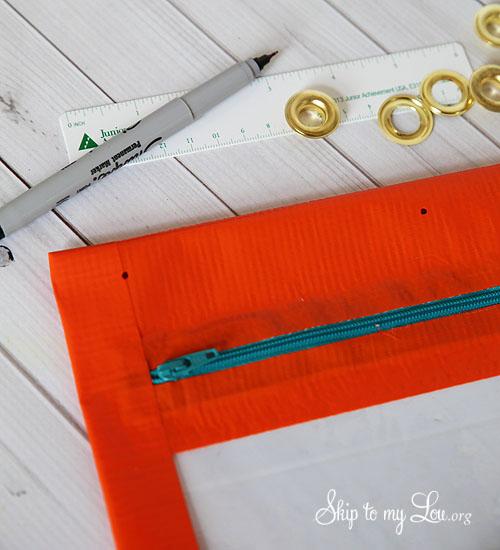duct tape pencil bag grommet placement