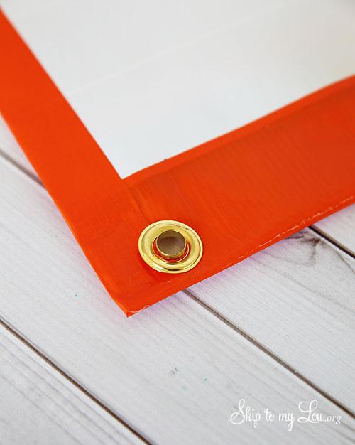 duct tape pencil bag grommet step 2