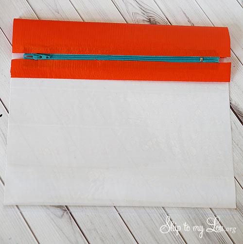duct tape pencil bag putting in the zipper