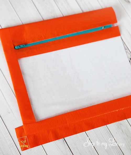 duct tape pencil bag trimming corners