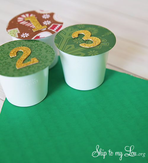 recycled advent calendar adding cups