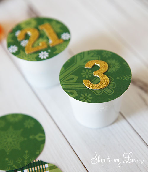 recycled advent calendar daily cups