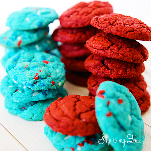 red and blue cookies