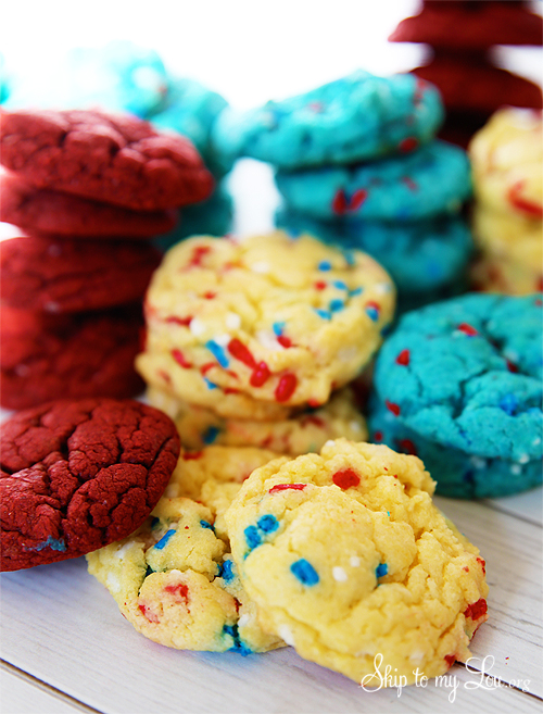 red white and blue cookies fourth of july