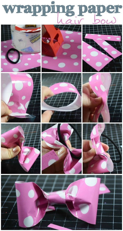 wrapping paper text bow step by step