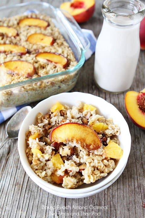 peach almond oatmeal in bowl