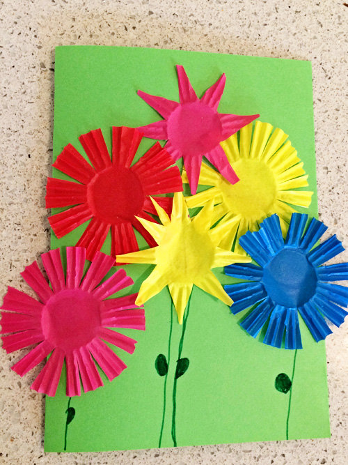 Flower bouquet greeting card for kids to make