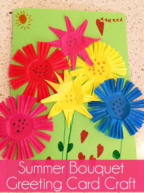 Summer bouquet greeting card craft skip to my lou kids birthday card craft ideas bookmarktalkfo