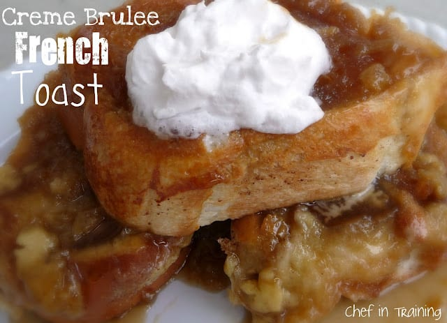 creme brule french toast on plate with whipped cream