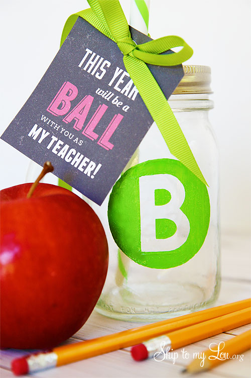 cricut monogramed ball drinking glass