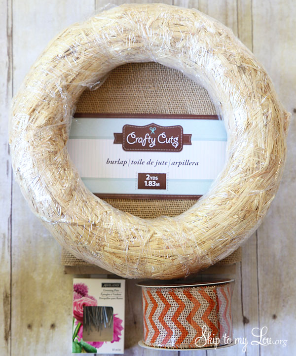 straw wreath form, chevron burlap ribbon, burlap, greenery pins