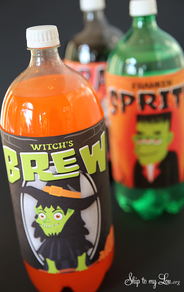Halloween 2 liter bottle labels Witches Brew
