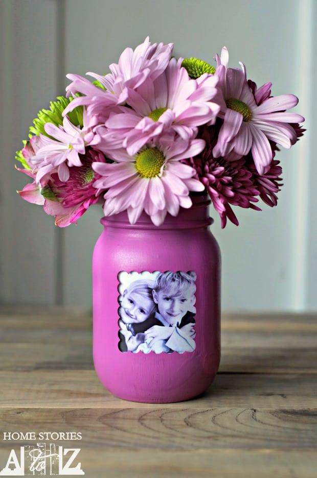mason jar frame vase