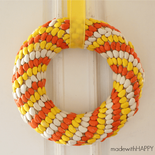 Candy Corn Lima Bean Wreath