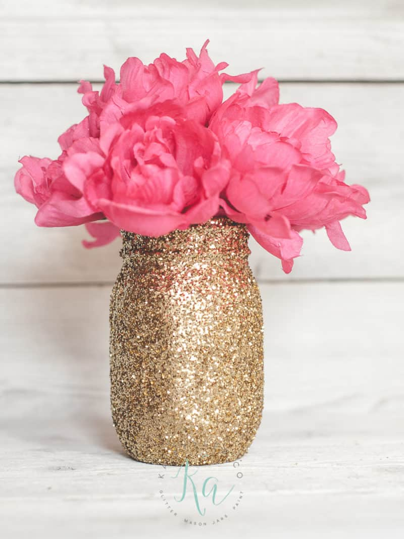 glitter gold mason jars